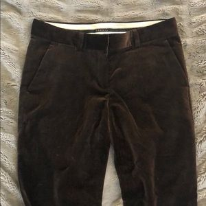 Theory cropped brown velvet pants size 4